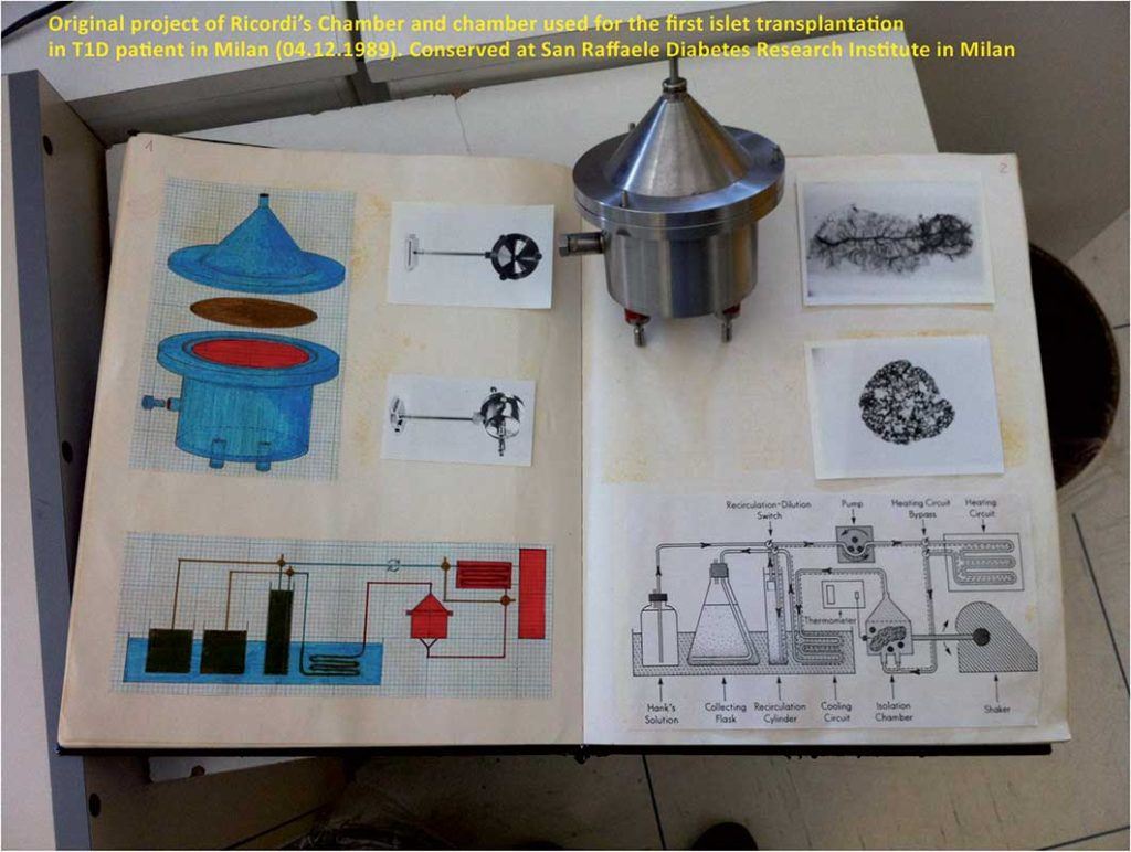 Figure 2. One of the initial prototypes of the stainless steel Dissociation Chamber and Dr. Ricordi's Laboratory Notebook describing the concept and drafts of the Automated Method for islet isolation. Photo by L. Piemonti (Milan, 3rd March 2013).