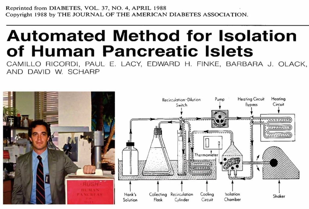 The headings of the manuscript describing the Automated Method and a picture of Dr. Ricordi with one of the first human pancreas shipments from NDRI that was processed in Saint Luis.